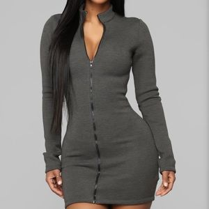 ✨NWT✨ Not Going Under Mini Dress in Charcoal